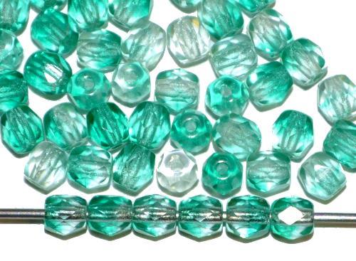 Best.Nr.:27364 facettierte Glasperlen  Zweifarbenglas kristall smaragdgrün, hergestellt in Gablonz / Tschechien
