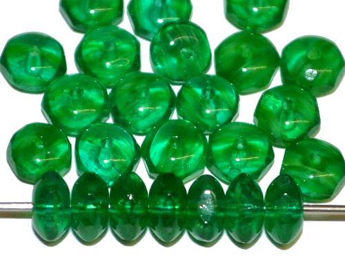 Best.Nr.:27377 Glasperlen Linse mit facettiertem Rand,  grün transp.,  hergestellt in Gablonz / Böhmen