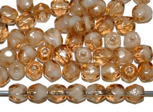 Best.Nr.:27416 facettierte Glasperlen  beigebraun  / weiß,  hergestellt in Gablonz / Tschechien