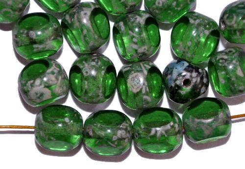 Best.Nr.:27424 Glasperlen grün mit picasso finish 3 Seiten geschliffen, hergestellt in Gablonz / Tschechien