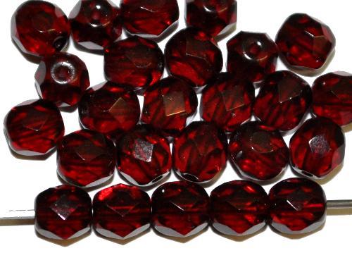 Best.Nr.:27425 facettierte Glasperlen  granatrot transp.,  hergestellt in Gablonz / Tschechien