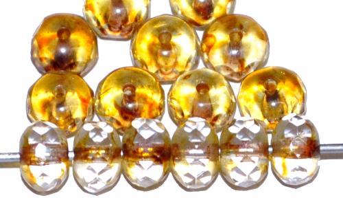 Best.Nr.:27445 Glasperlen Linse mit facettiertem Rand, kristall mit light picasso finish, hergestellt in Gablonz / Tschechien