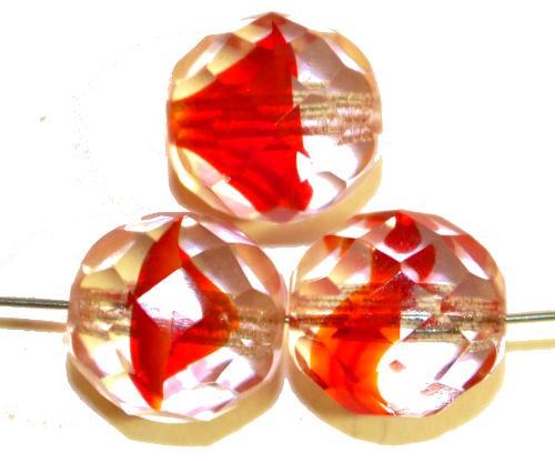 Best.Nr.:27463 facettierte Glasperlen rot kristall, hergestellt in Gablonz / Tschechien