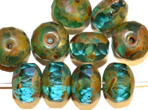 Best.Nr.:27476 Glasperlen Linse türkis grün mit facettiertem Rand und picasso finish, hergestellt in Gablonz / Tschechien