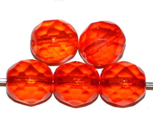 Best.Nr.:27479 facettierte Glasperlen orangerot transp.,  hergestellt in Gablonz / Tschechien