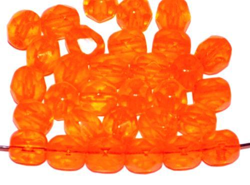 Best.Nr.:27501 facettierte Glasperlen  orange transp.,  hergestellt in Gablonz / Tschechien
