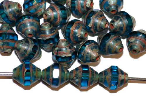 Best.Nr.:27505 facettierte Glasperlen / Barockperlen montanablau mit picasso finish, hergestellt in Gablonz / Tschechie