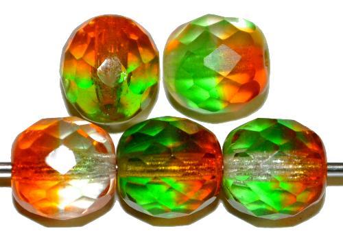 Best.Nr.:27536 facettierte Glasperlen Zweifarbenglas orange/grün transp., hergestellt in Gablonz Tschechien