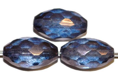 Best.Nr.:27578 facettierte Glasperlen Olive  blau transparent metallic lüster,  hergestellt in Gablonz / Tschechien