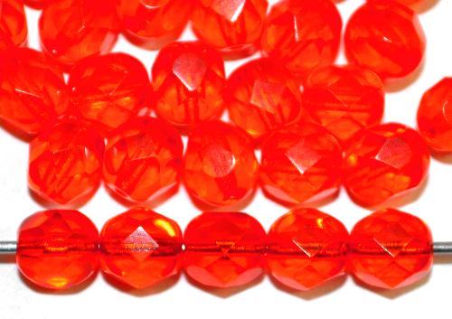 Best.Nr.:27589 facettierte Glasperlen orange transp., hergestellt in Gablonz / Tschechien
