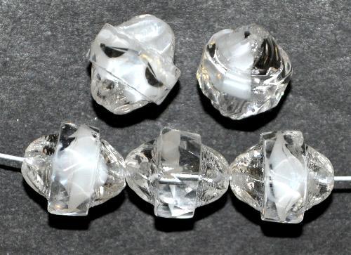 Best.Nr.:27592 facettierte Glasperlen mit facettiertem Band  kristall mit weißem Einschluss,  hergestellt in Gablonz / Tschechien