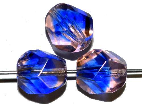 Best.Nr.:27608 geschliffene Glasperlen blau rosa transp., hergestellt in Gablonz / Tschechien