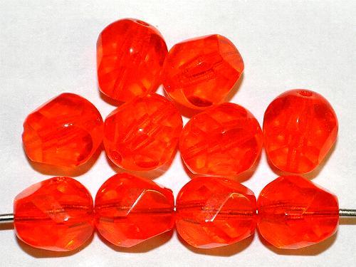 Best.Nr.:27609 geschliffene Glasperlen  orange transp.,  hergestellt in Gablonz / Tschechien
