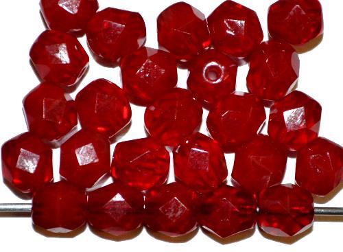 Best.Nr.:27612 facettierte Glasperlen rot,  hergestellt in Gablonz / Tschechien