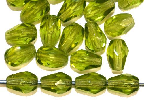 Best.Nr.:27614  Glasperlen Tropfen geschliffen,  olivgrün transp.,  hergestellt in Gablonz / Tschechien