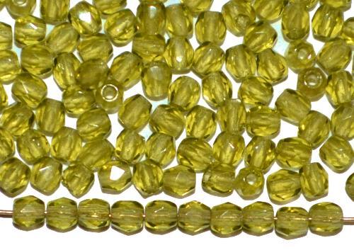 Best.Nr.:27618 facettierte Glasperlen  oliv transp,  hergestellt in Gablonz / Tschechien
