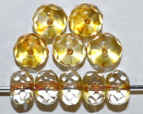 Best.Nr.:27619 Glasperlen Linse mit facettiertem Rand,  kristall mit light picasso finish,  hergestellt in Gablonz / Böhmen