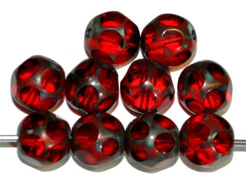 Best.Nr.:27621 Glasperlen / geschliffen,  rot transp. mit picasso finish  hergestellt in Gablonz / Tschechien