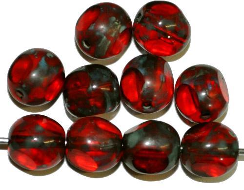 Best.Nr.:27622 Glasperlen / 3 Seiten geschliffen,   rot transp. mit picasso finish  hergestellt in Gablonz / Tschechien