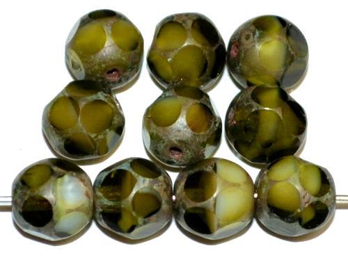 Best.Nr.:27632 Glasperlen geschliffen Multi Cut Beads olivgrün mit picasso finish  hergestellt in Gablonz / Tschechien
