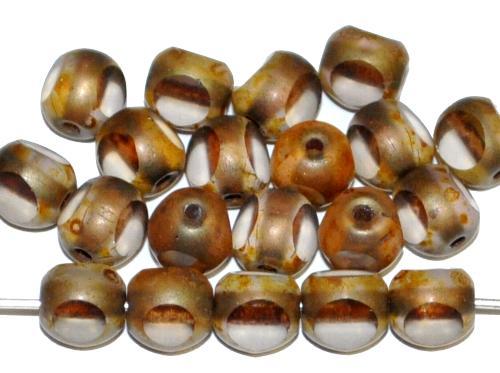 Best.Nr.:27637 Glasperlen / 3 Seiten geschliffen,  kristall mit picasso finish und bronze schimmer,  hergestellt in Gablonz / Tschechien