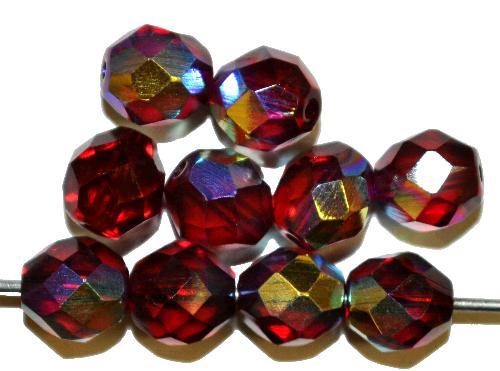 Best.Nr.:28002 facettierte Glasperlen  granatrot transp./eine Seite mit AB, hergestellt in Gablonz / Tschechien