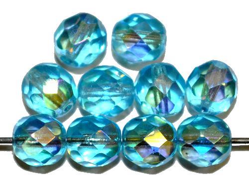 Best.Nr.:28003 facettierte Glasperlen  türkis transp./eine Seite mit AB, hergestellt in Gablonz / Tschechien