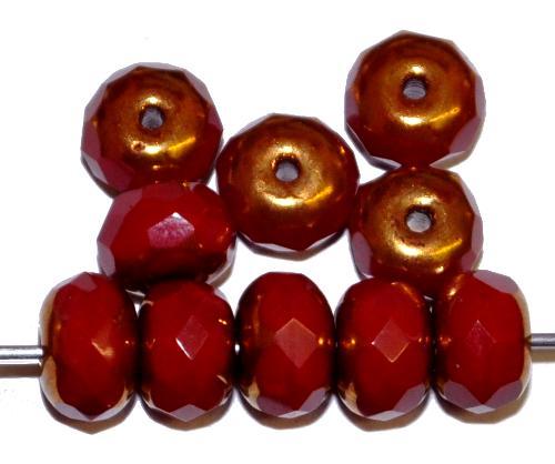 Best.Nr.:28007 Glasperlen Linse mit facettiertem Rand, rot opak mit Bronzeauflage, hergestellt in Gablonz / Tschechien
