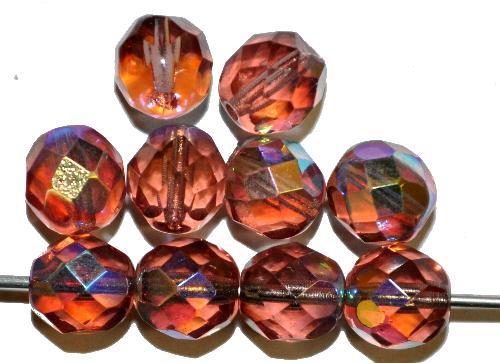Best.Nr.:28010 facettierte Glasperlen  french violett mit AB, hergestellt in Gablonz / Tschechien