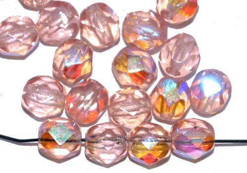 Best.Nr.:28014 facettierte Glasperlen rose transp. mit AB, hergestellt in Gablonz / Tschechien