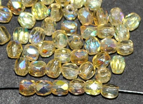 Best.Nr.:28017 facettierte Glasperlen  gelb transp. mit AB, hergestellt in Gablonz / Tschechien