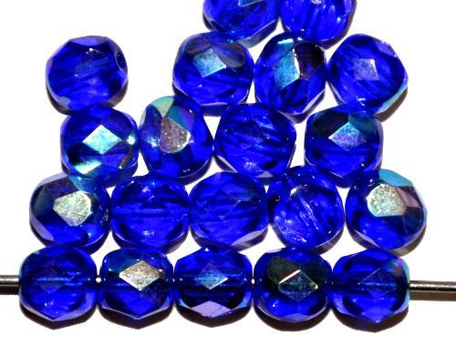 Best.Nr.:28019 facettierte Glasperlen blau transp. mit AB, hergestellt in Gablonz / Tschechien