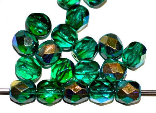 Best.Nr.:28020 facettierte Glasperlen    smaragdgrün transp. mit AB hergestellt in Gablonz / Tschechien