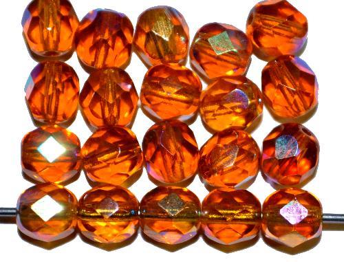 Best.Nr.:28021 facettierte Glasperlen topas mit AB, hergestellt in Gablonz / Tschechien