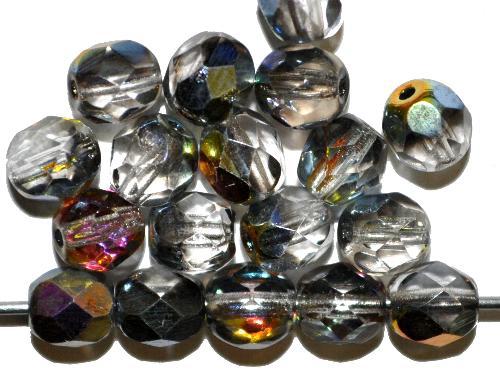 Best.Nr.:28022 facettierte Glasperlen kristall mit metallic Veredelung, hergestellt in Gablonz / Tschechien