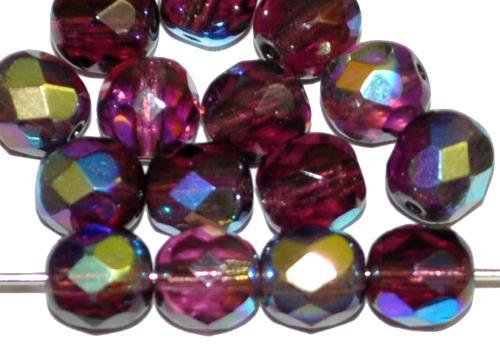 Best.Nr.:28029 facettierte Glasperlen  violett transp. mit AB, hergestellt in Gablonz / Tschechien