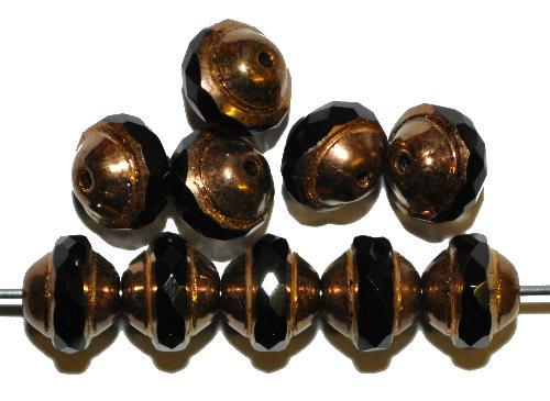 Best.Nr.:28035 Glasperlen mit facettiertem Band  schwarz mit bronze Auflage,  hergestellt in Gablonz / Tschechien