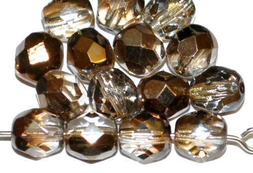 Best.Nr.:28040 facettierte Glasperlen kristall mit metallic Veredelung, hergestellt in Gablonz / Tschechien