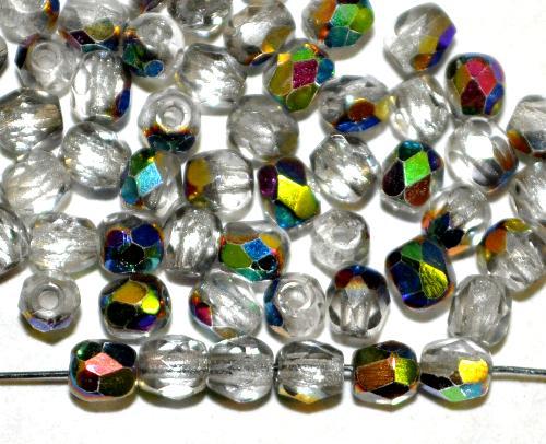 Best.Nr.:28041  facettierte Glasperlen  kristall mit AB, hergestellt in Gablonz / Tschechien