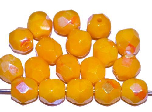 Best.Nr.:28054 facettierte Glasperlen gelb opak mit AB, hergestellt in Gablonz / Tschechien