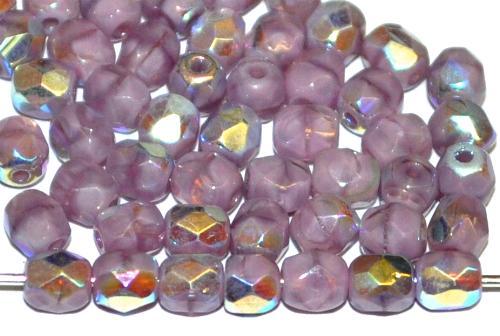 Best.Nr.:28055 facettierte Glasperlen violett Perlettglas mit AB, hergestellt in Gablonz / Tschechien