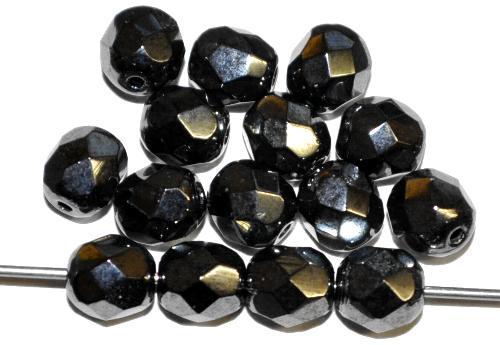 Best.Nr.:28065  facettierte Glasperlen  hämatitfarben,  hergestellt in Gablonz / Tschechien