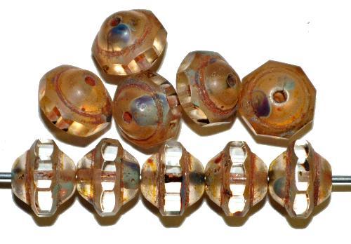 Best.Nr.:28066 Glasperlen kristall mit geschliffenem Band und picasso finish, hergestellt in Gablonz / Tschechien