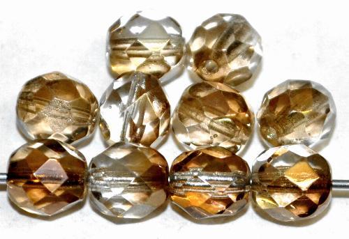 Best.Nr.:28072 facettierte Glasperlen mit metallic Veredelung, hergestellt in Gablonz / Tschechien