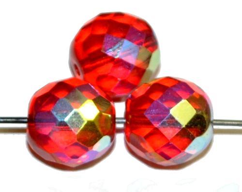 Best.Nr.:28088 facettierte Glasperlen rot transp. mit AB, hergestellt in Gablonz / Tschechien