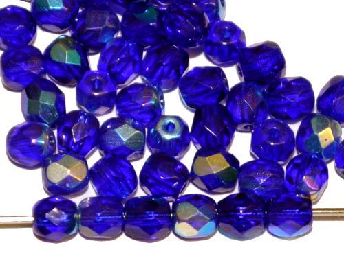 Best.Nr.:28094 facettierte Glasperlen dunkelblau transp. mit AB, hergestellt in Gablonz / Tschechien