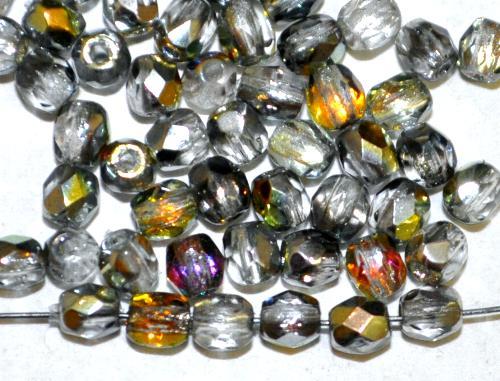 Best.Nr.:28096 facettierte Glasperlen hellgrau mit AB hergestellt in Gablonz / Tschechien