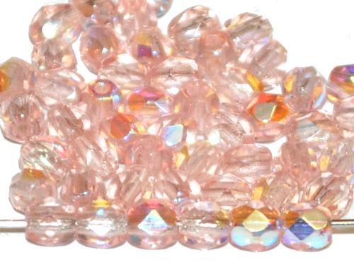 Best.Nr.:28107 facettierte Glasperlen zart rosa transp. mit AB, hergestellt in Gablonz / Tschechien