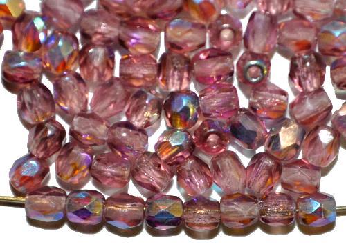 Best.Nr.:28109 facettierte Glasperlen  violett transp. mit AB, hergestellt in Gablonz / Tschechien