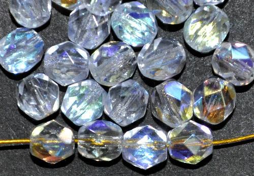 Best.Nr.:28117 facettierte Glasperlen  aqua hell mit AB finish,  hergestellt in Gablonz / Tschechien